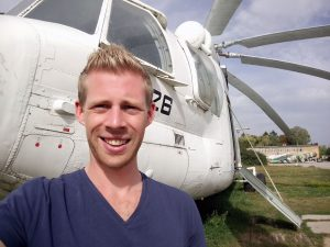 Thomas next to a Mil Mi-26 transport helicopter